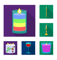 design of candlelight and decoration logo vector image