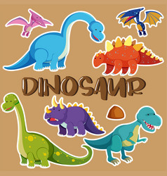 Different types of dinosaurs vector