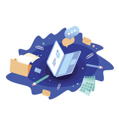 Document management laptop with data files vector