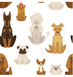 Dog types and breeds canine animals seamless vector