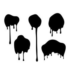 Dripping blobs black ink drops flat paint spots vector