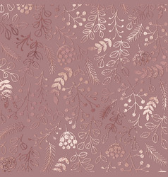 Elegant floral pattern rose gold vector