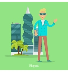 Elegant Man Near Skyscrapers in Tropical Country vector image