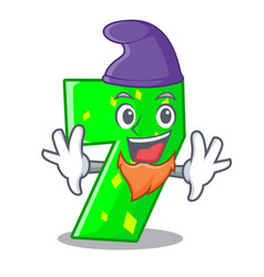 Elf character paper cut number seven letter vector