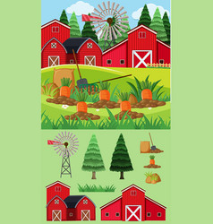 Farm scene with red barns and carrot garden vector