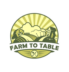 farm to table eco style emblem vector image