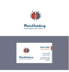 flat brain processor logo and visiting card vector image