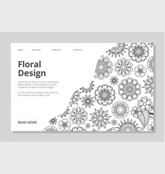 floral landing page hand drawn line vector image