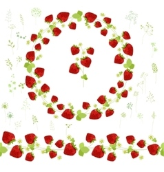 Floral round garland and endless pattern brush vector image