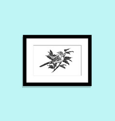 Frame on wall with picture bird on branch vector