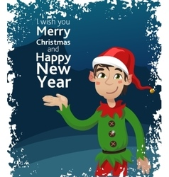 Funny Cute Dwarf Christmas Blue vector image