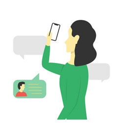 Girl received a message on her smartphone vector