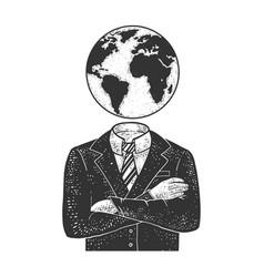 globe head businessman sketch vector image