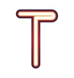Glowing neon letter T vector