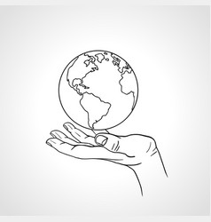 Hand holding the earth palm hold the globe vector