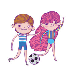 Happy childrens day girl and boys with soccer vector