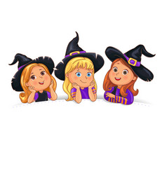 Happy halloween funny children in hat on white vector