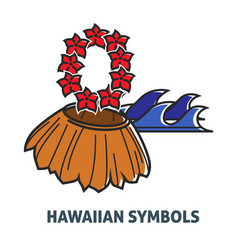 Hawaiian symbols promo poster with straw skirt and vector