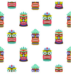 hawaiian tiki mask seamless bright on white vector image