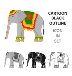 Indian elephant icon in cartoon style isolated on vector