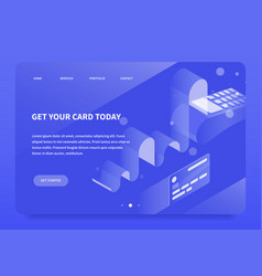 Isometric payment terminal landing page vector