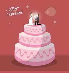 just married cake dessert vector image