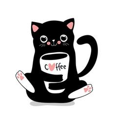 Kawaii black cat with coffee cup cute vector
