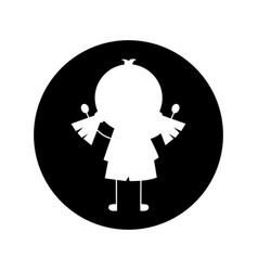 Little girl drawing isolated icon vector