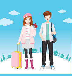 Male and female traveller standing with luggages vector