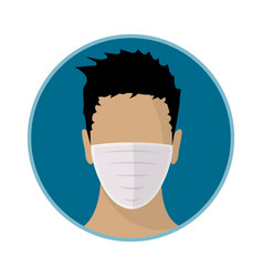 Man face with flu mask flat icon design vector