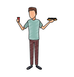Man with hotdog and soda cup scribble vector