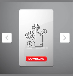 Ppc click pay payment web line icon in carousal vector