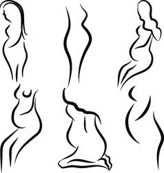 Pregnant women silhouette set vector