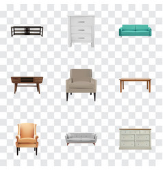Realistic cupboard furniture settee and other vector