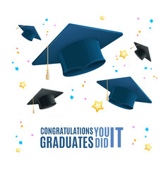 realistic detailed 3d congratulation graduates vector image
