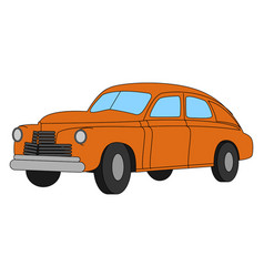 red retro car on white background vector image