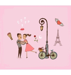Romantic couple on a Paris vacation vector