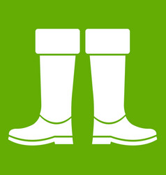 Rubber boots icon green vector