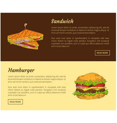 Sandwich and hamburger set vector