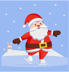 Santa claus skating outdoors winter sport vector