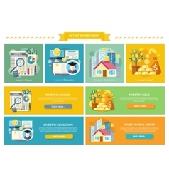 Set Concept Investment Flat Style vector