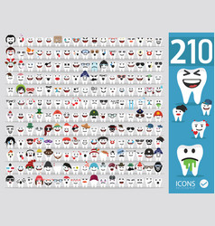 Set cute tooth emoji emoticons vector