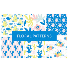 set hand drawn colorful floral repeat patterns vector image