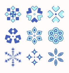set of 9 symmetric geometric shapes vector image
