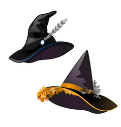 set of black witch hat sketch for greeting card vector image