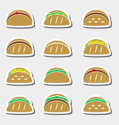 set of color tortilla tacos food stickers set vector image