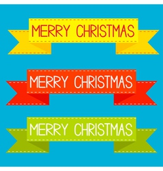 Set of colorful ribbons Merry Christmas card vector image