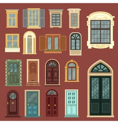 Set of European Vintage Doors and Windows vector image