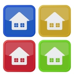 set of four square icons - home with two windows vector image
