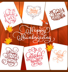 Set of hand drawn thanksgiving day texts vector